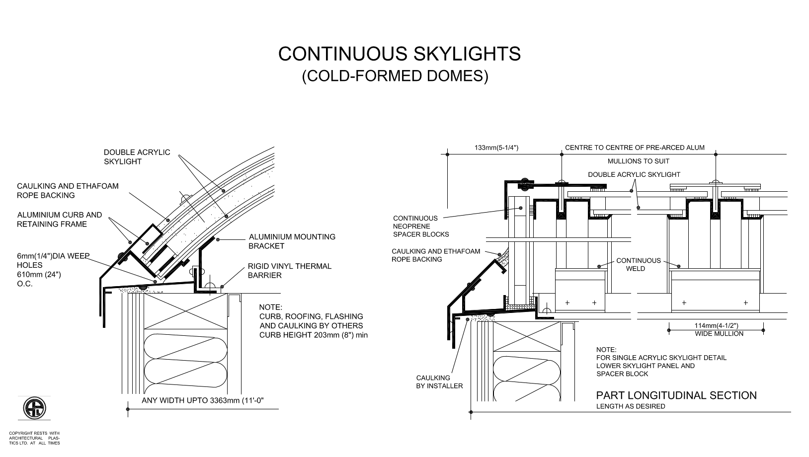 Continous Skylights (Cold Formed Domes) Diagram