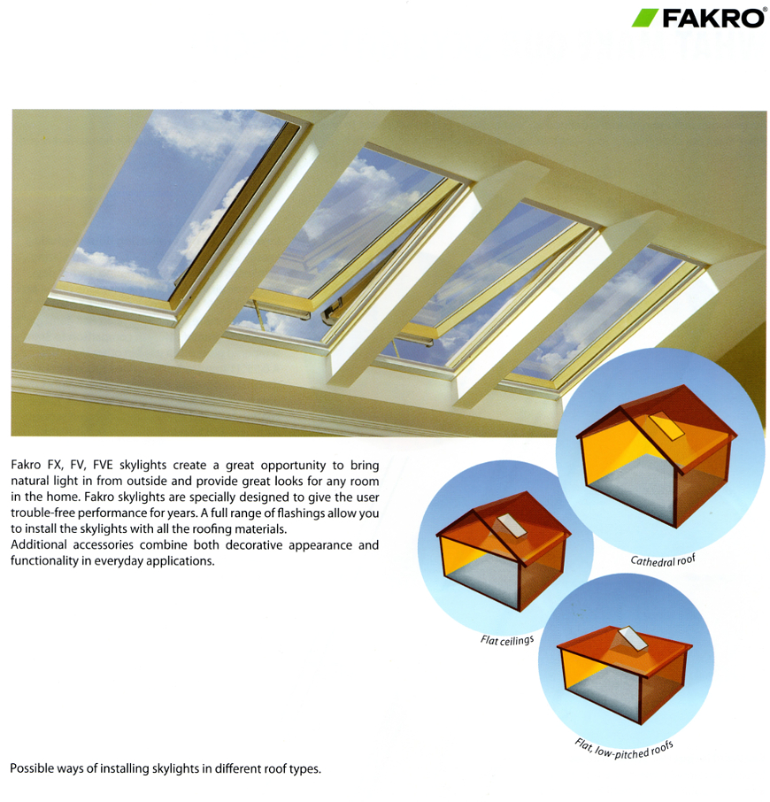 Fakro Glass Skylights - install on various roof types