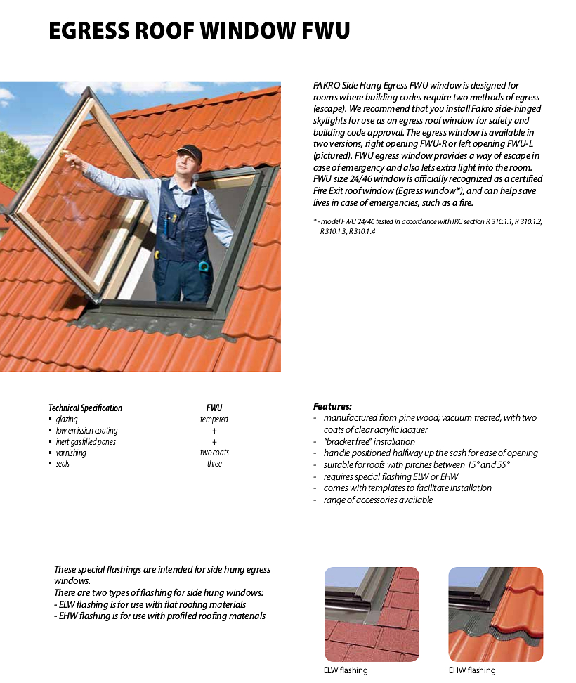 Fakro Side Hung Egress Windows Specifications