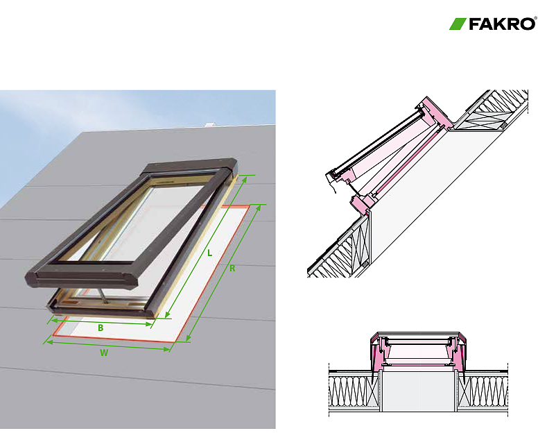 Fakro deck mounted Electric Venting Skylight FVE Dimensions