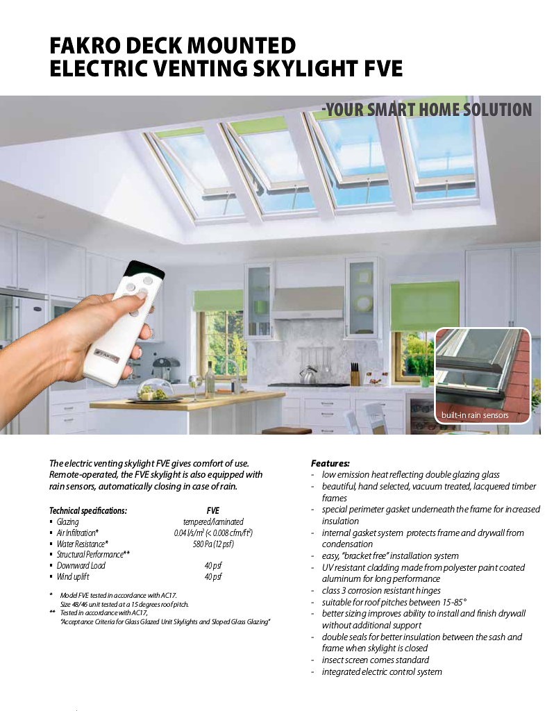Fakro deck mounted Electric Venting Skylight FVE details