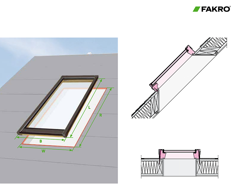 Fakro deck mounted Fixed Skylight FX Dimensions