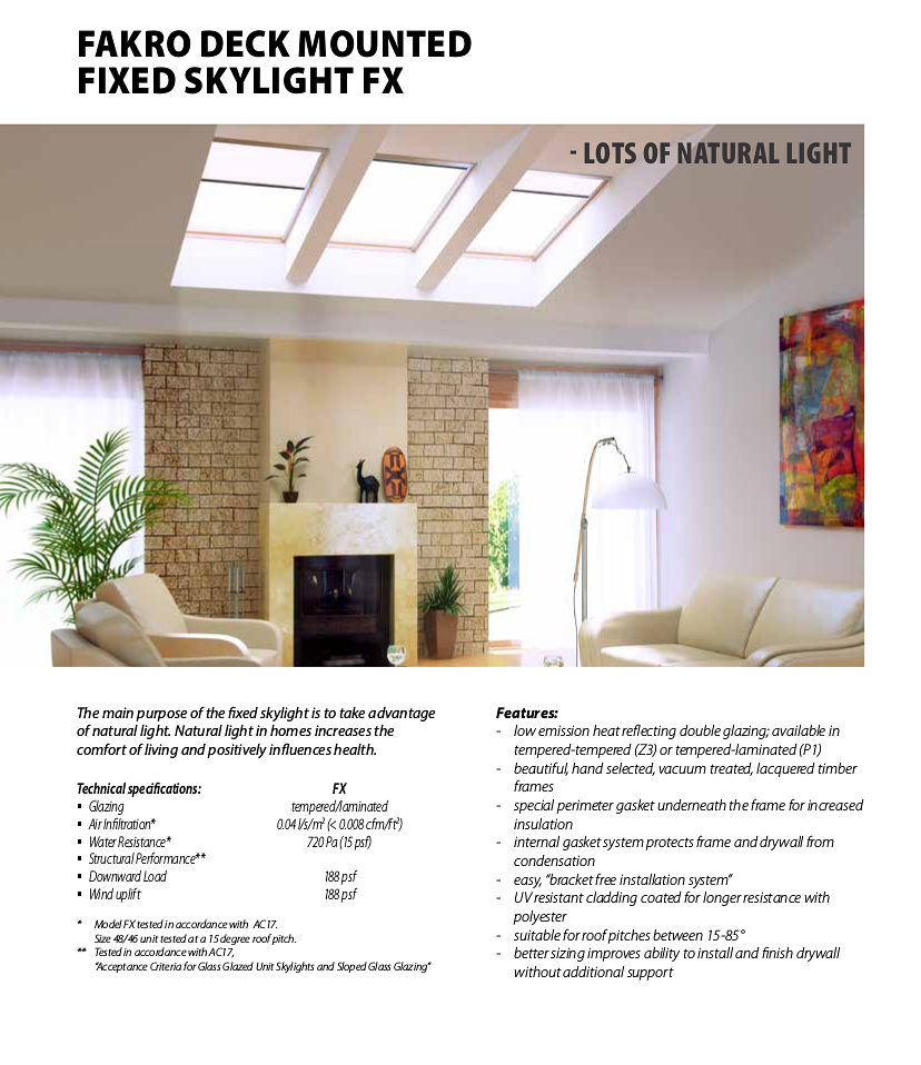 Fakro deck mounted Fixed Skylight FX details