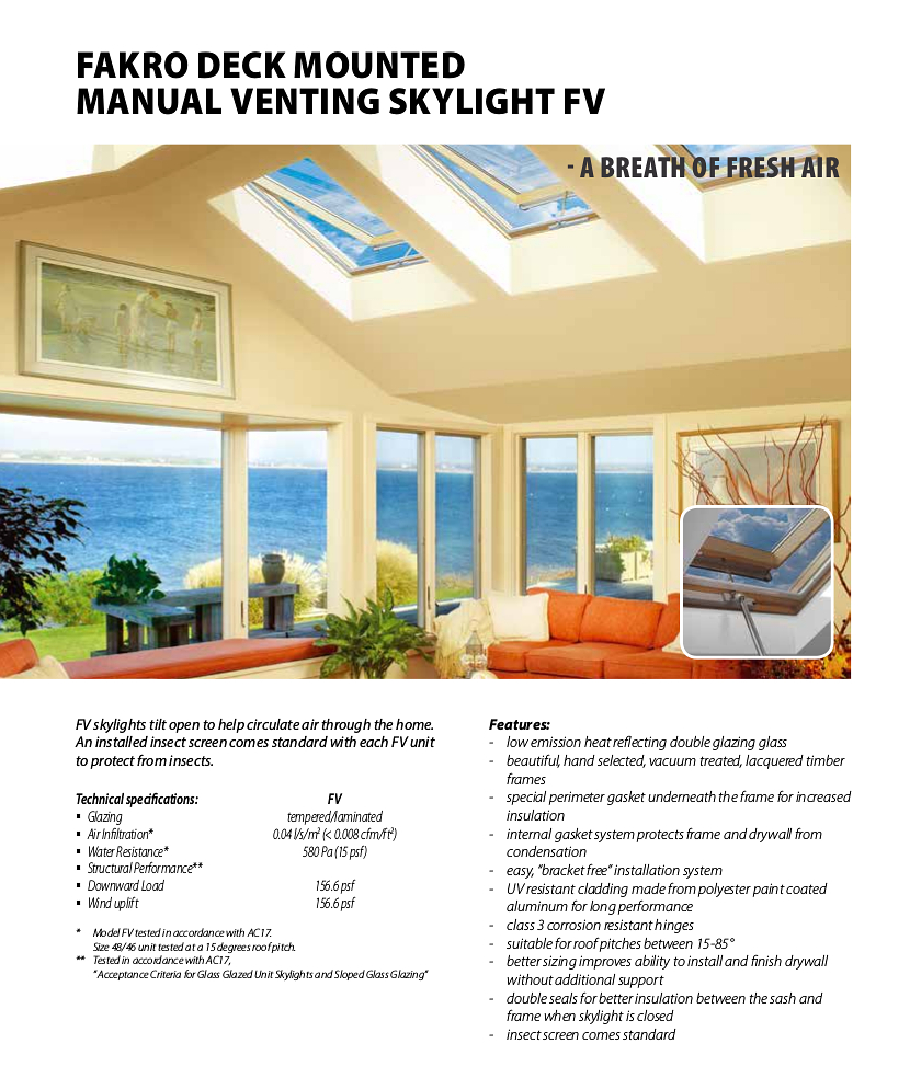 Fakro deck mounted Manual Venting Skylights FV