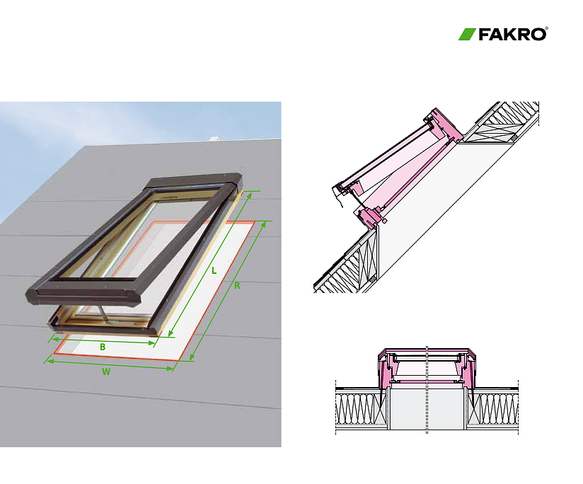 Fakro deck mounted Manual Venting Skylight FV dimensions
