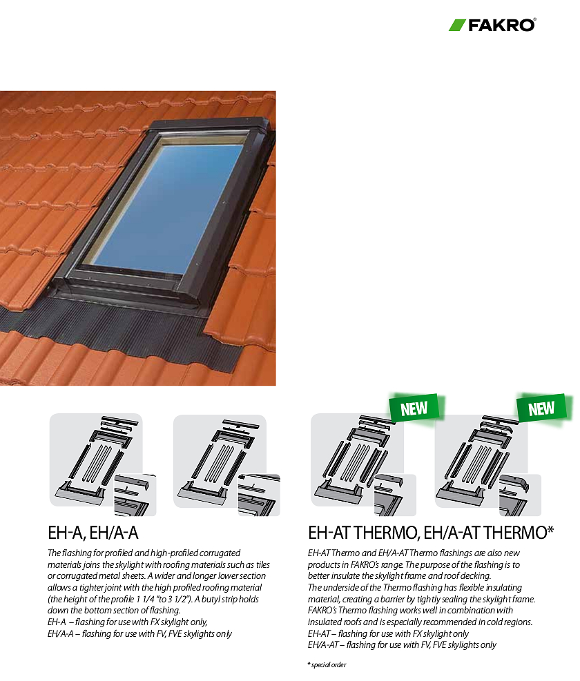 Flashings for Fakro glass skylights - For profiled and high-profiled corrugated roofing materials