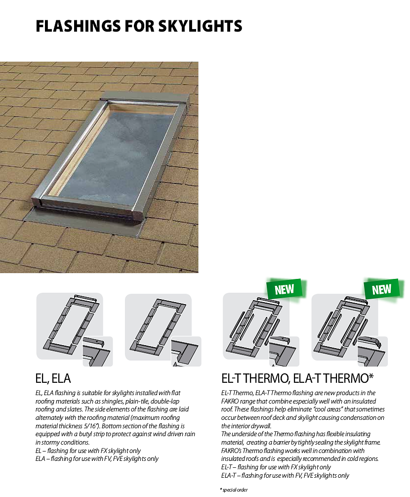 Flashings for Fakro glass skylights - for flat roofing materials