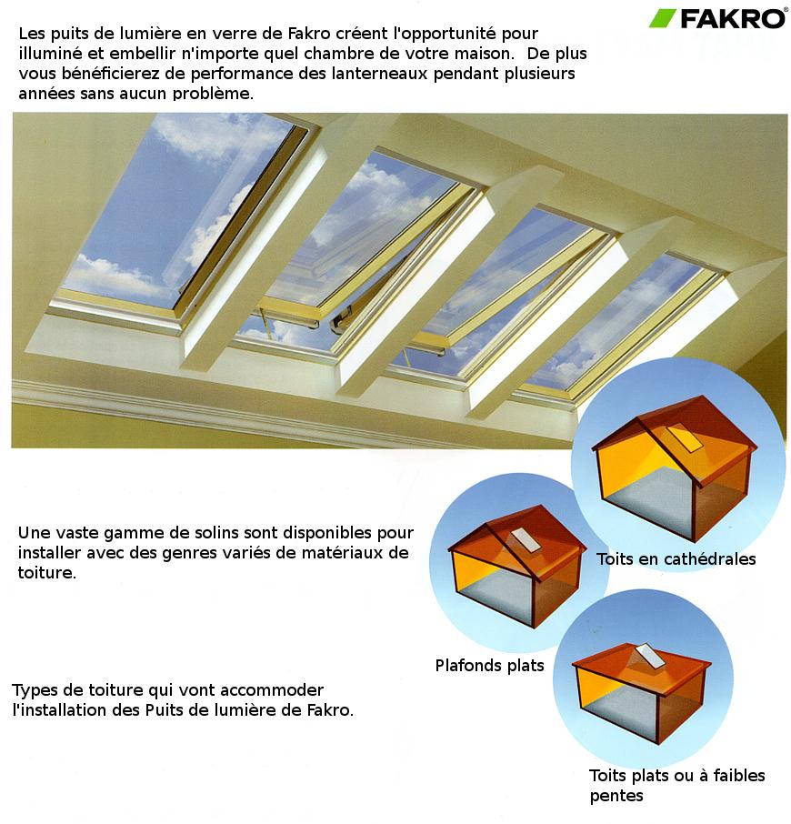 Puits de lumière en verre de Fakro - types de toits