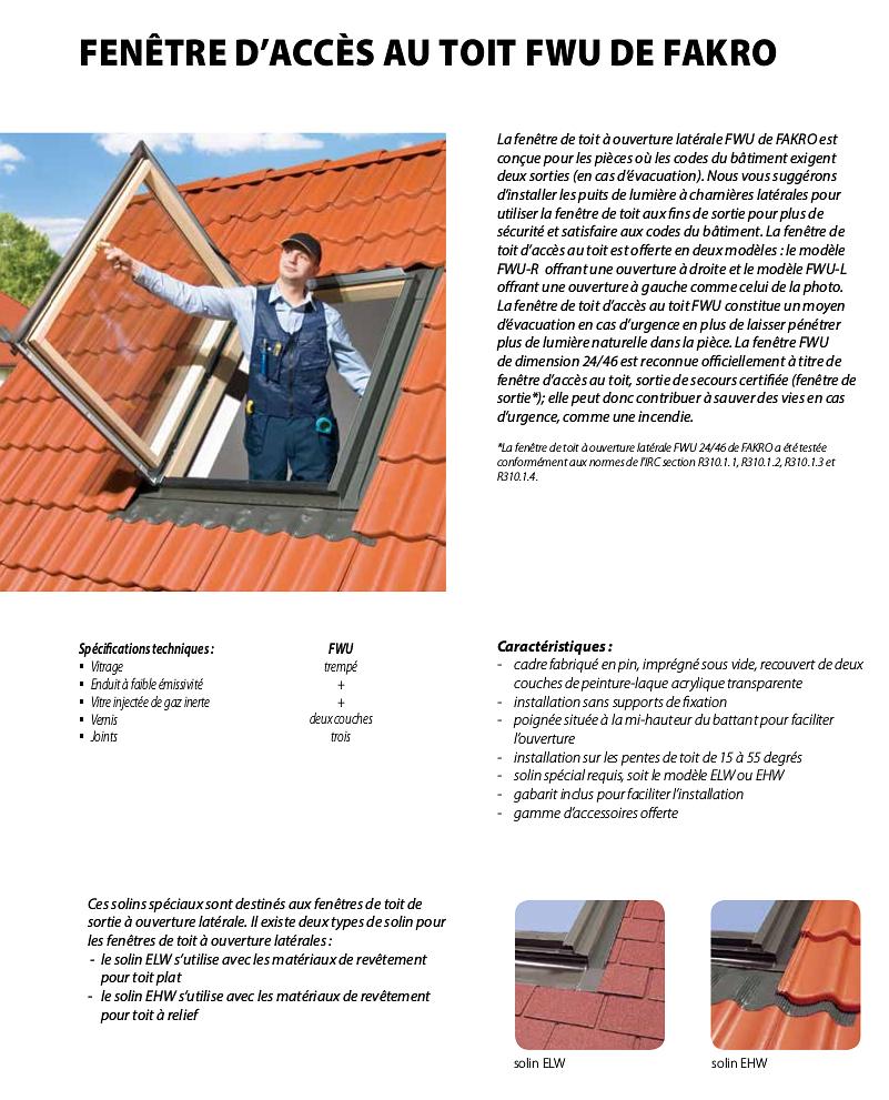 Spécifications pour les Fenêtres d'Acces au toit à ouverture latérale de Fakro