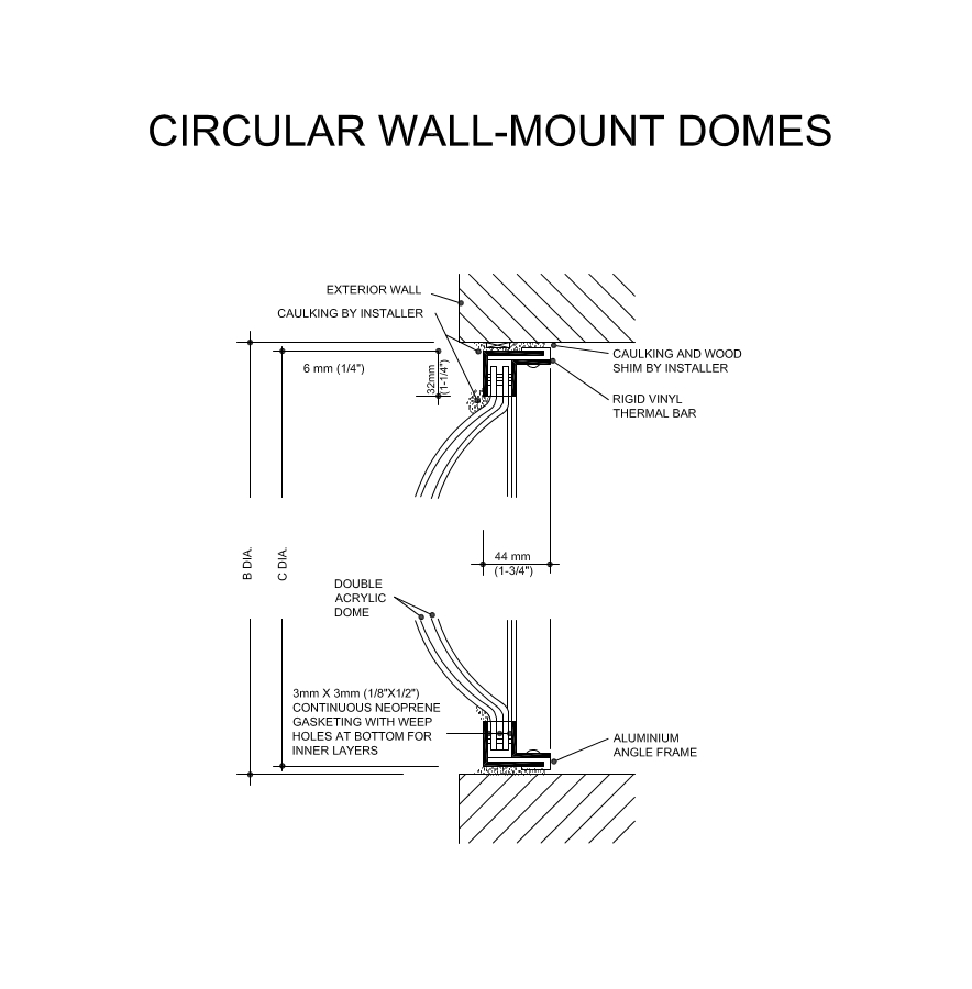 Circular Wall-Mount Domes diagram