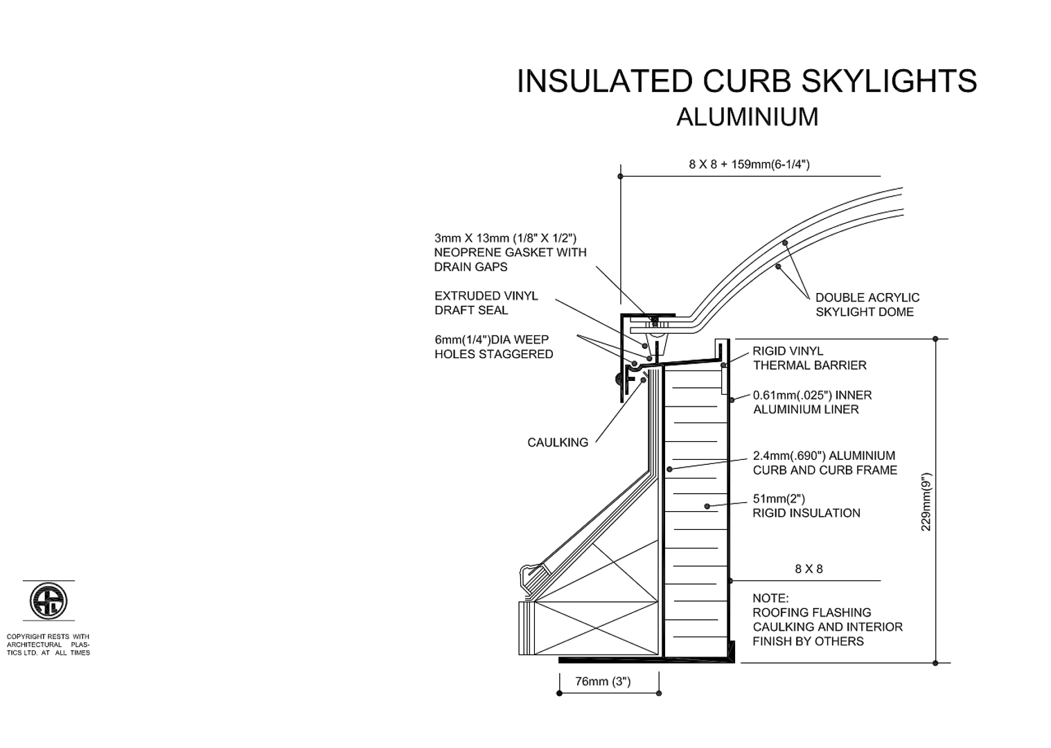 Insulated Curb Skylights Aluminum Diagram