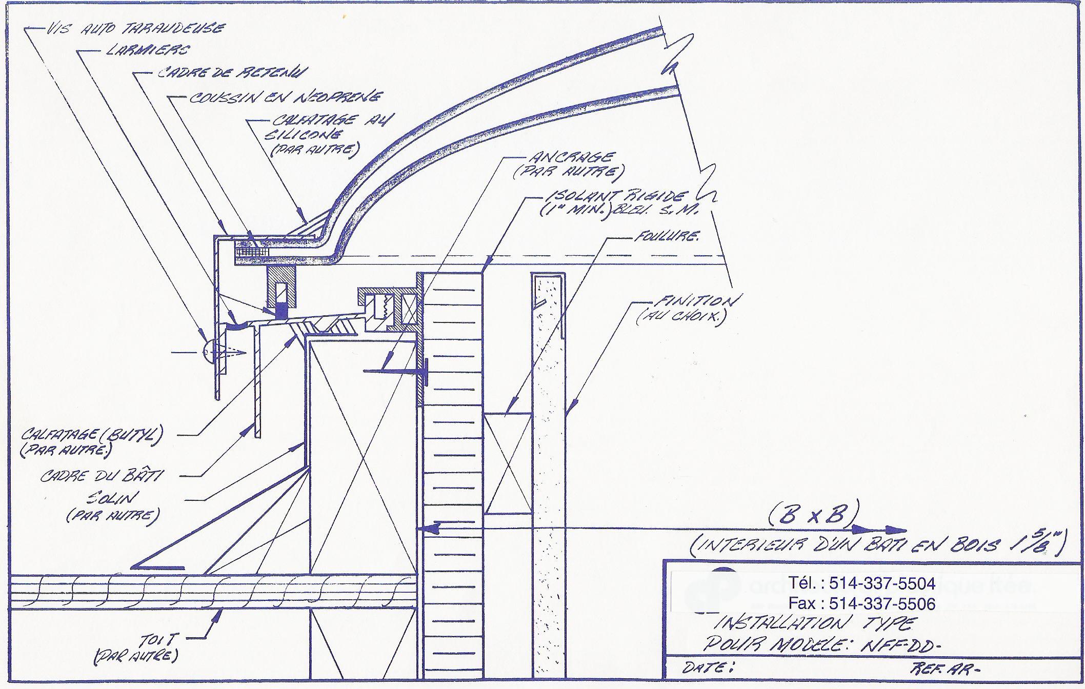 Diagramme de lanterneau avec cadre en aluminium NFFCMDDCC